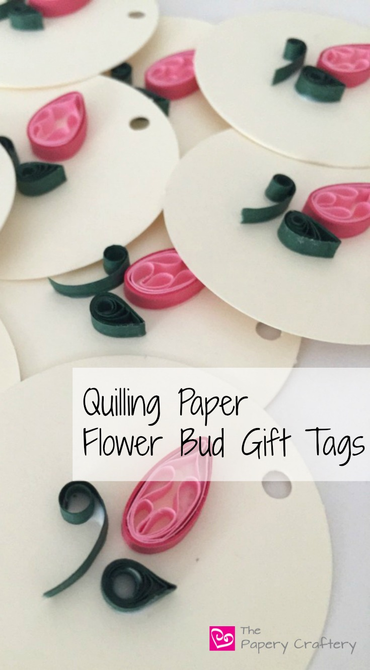 How to make quilling paper flower bud gift tags