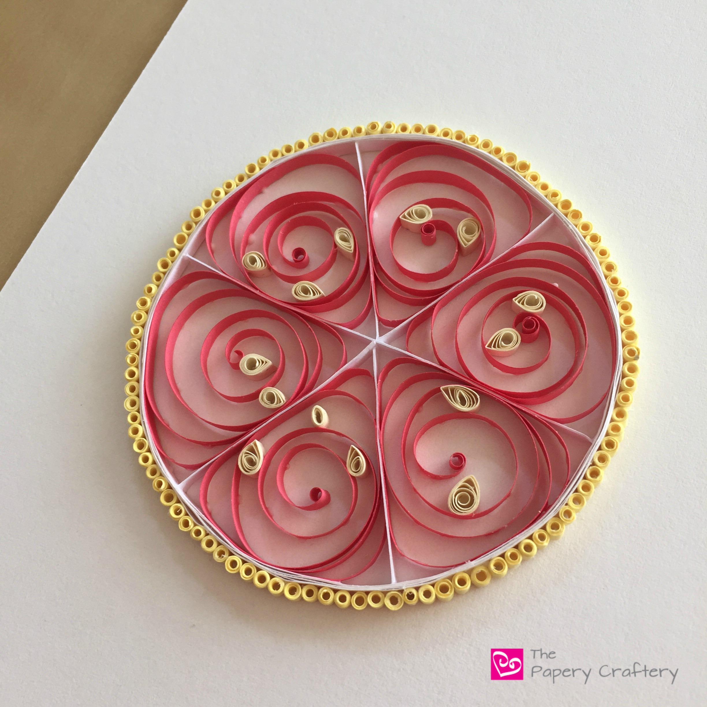 Handmade quilled paper grapefruit citrus fruit art
