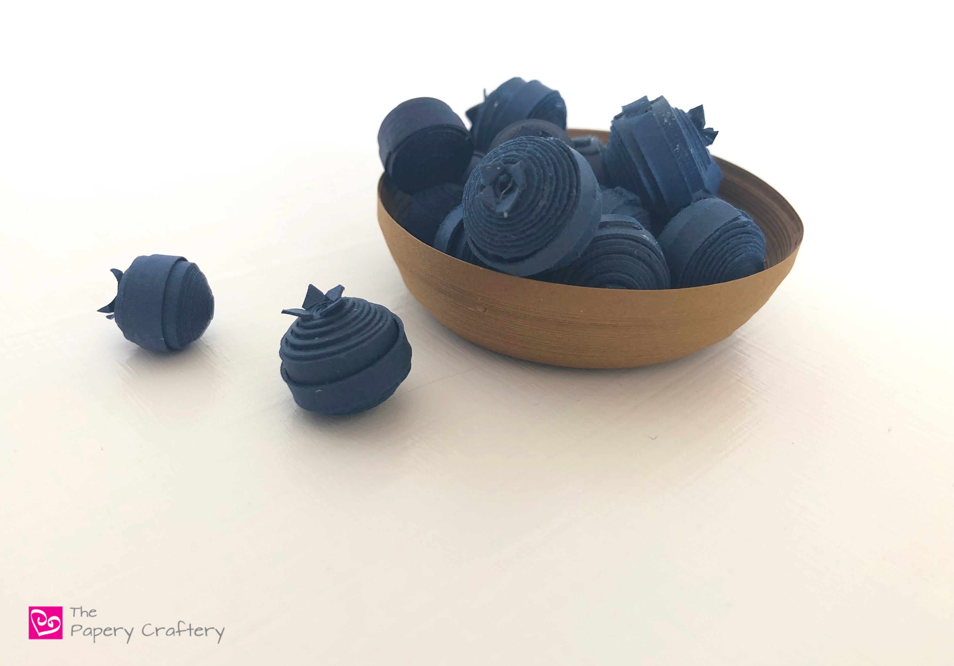 How to Make Quilling Paper Blueberries - A simple way to create the ultimate summer treat for your seasonal cards and creations | ThePaperyCraftery.com